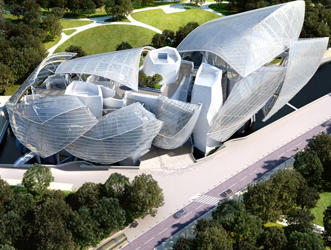 Il progetto di Frank Gehry per la Fondazione Vuitton a Parigi. Apertura prevista nel 2014.